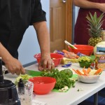 Guest chefs expertly demonstrate knife and other skills as they teach each recipe.